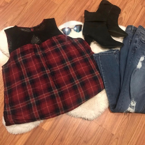 ❌SOLD❌ Red Plaid Blouse with Lace Detail